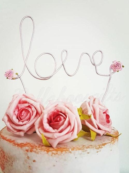Wire LOVE cake topper