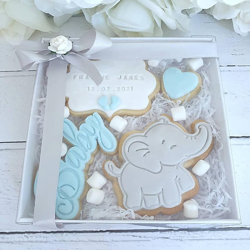 Personalised New Baby Boy Cookie Gift Set