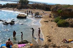 Families playing shoreside