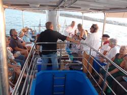 Families enjoying boat trip
