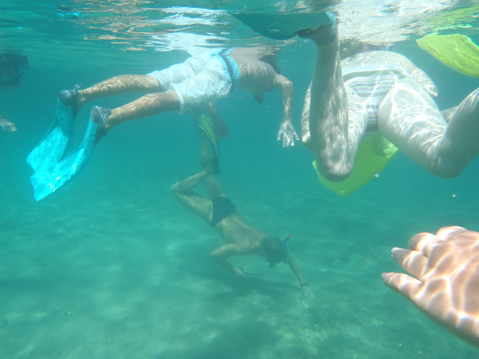 Kinds underwater snorkling together