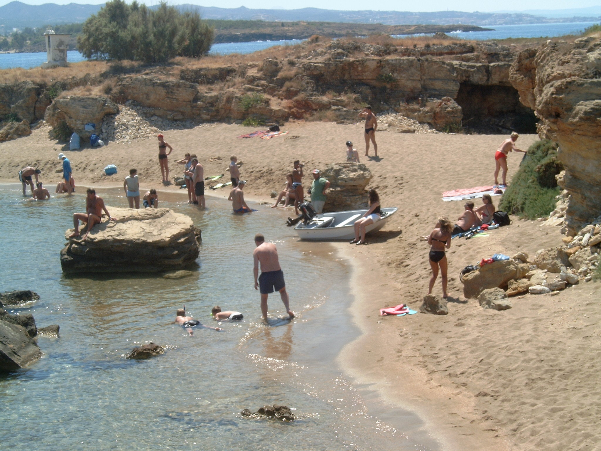 Family playing shoreside in Chania