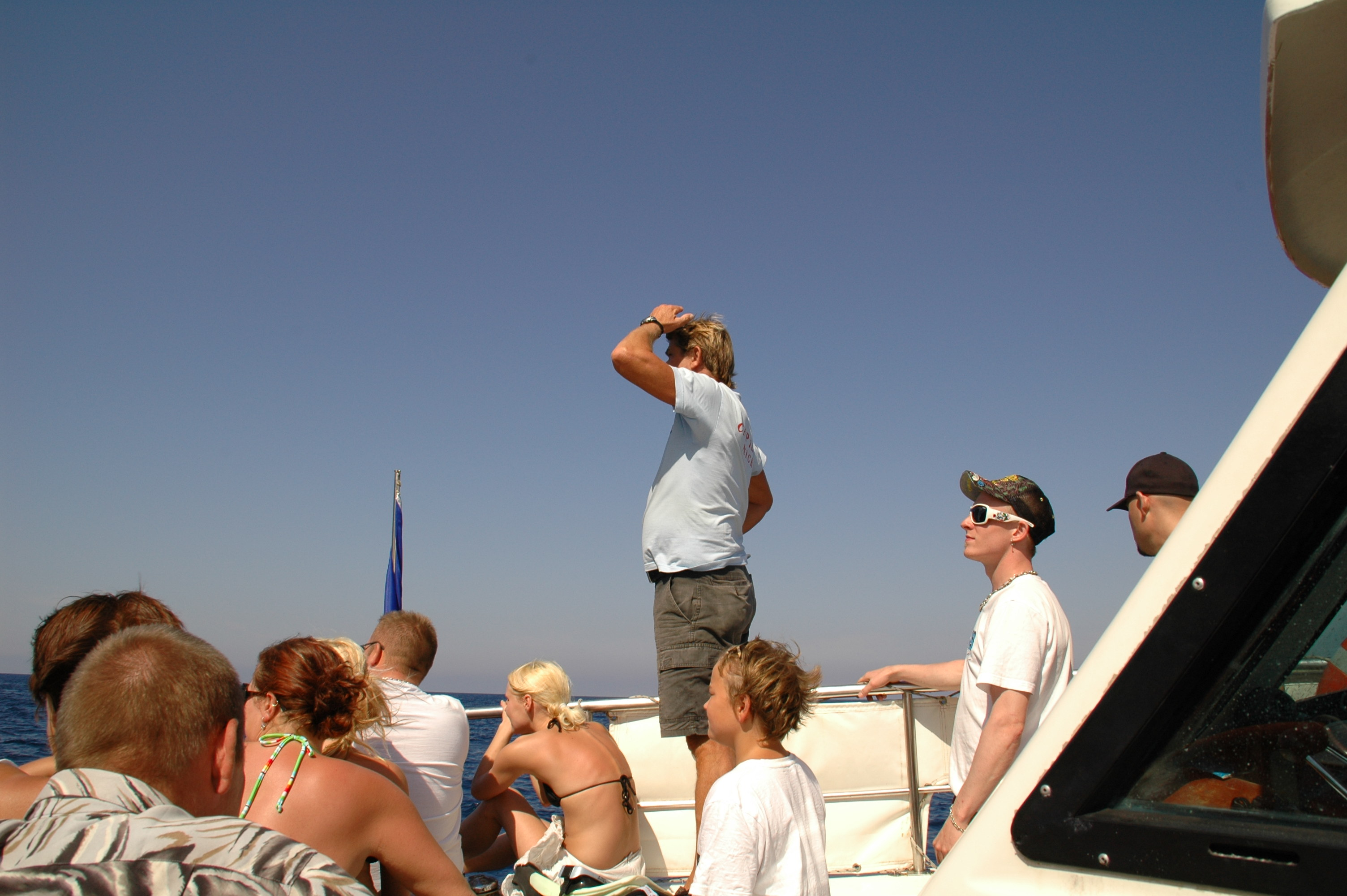 Man overlooking the ocean on boat