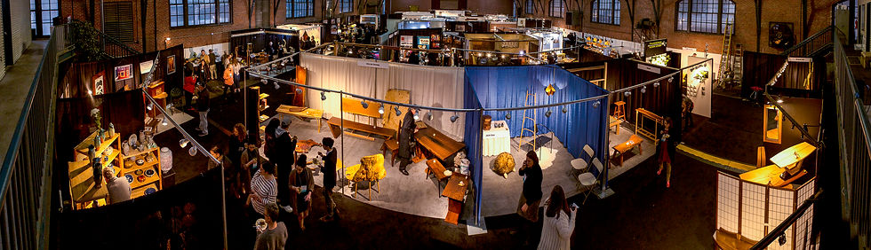 an aerial shot of booths on a trade show floor