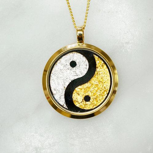 Gold leaf Small Yin Yang pendant