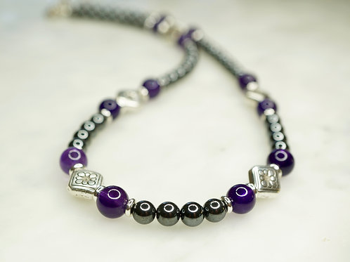 Iron Ore & Amethyst Necklace