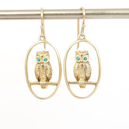 9ct Gold Owl Earrings
