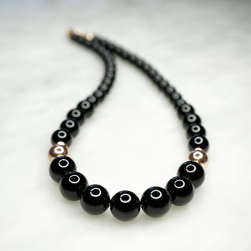 Black Agate & Rose Gold Vermeil Necklace