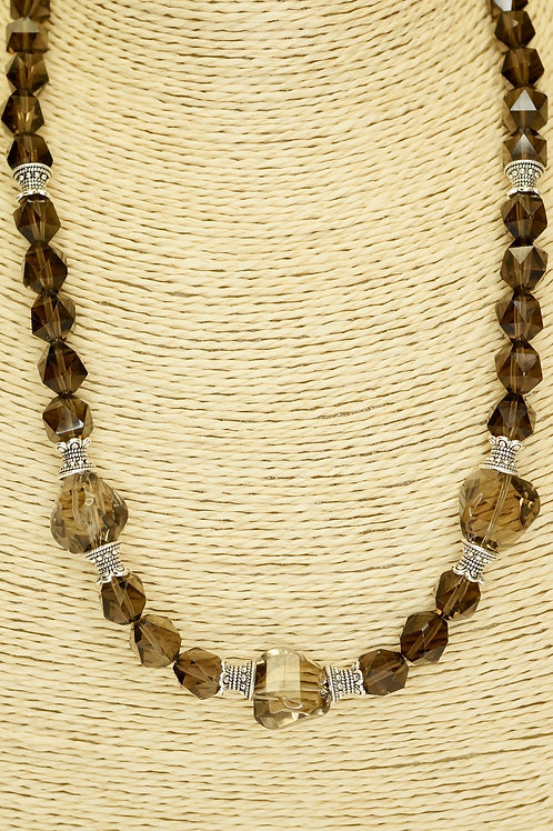 Smokey Quartz & Sterling Silver Necklace