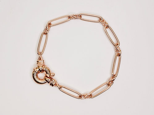 9 Carat Rose Gold Paperclip Bracelet