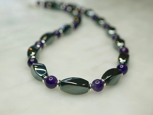 Iron Ore & Amethyst Twist Necklace