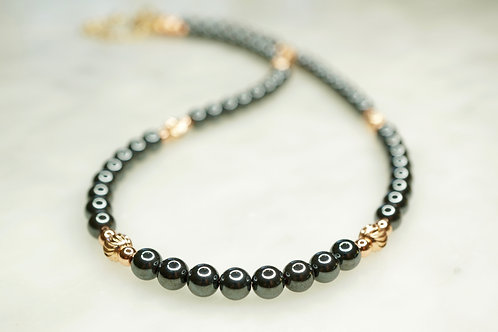 Iron Ore with 14 Carat Rose Gold Vermeil Bead Necklace