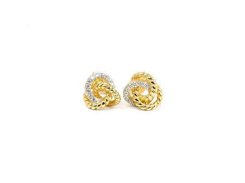 9ct Gold & Diamond Italian Knot Earrings