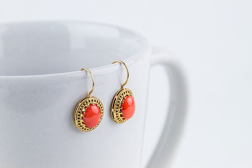 9ct Gold Coral Earrings