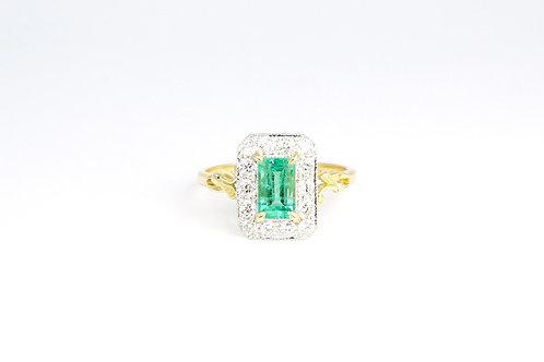 18ct Gold Art Deco Style Colombian Emerald & Diamond Ring