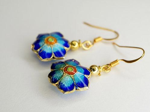 Cloisonne Flower Earrings
