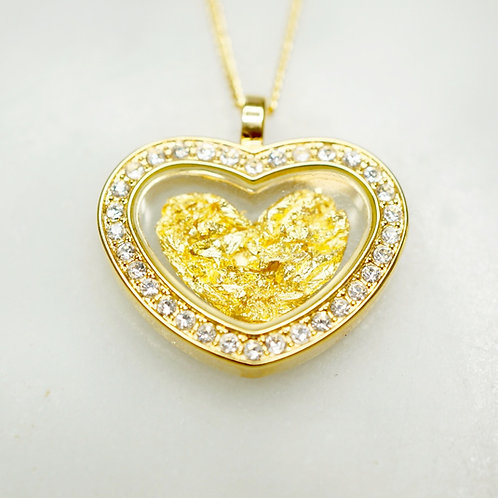 Australian Gold Leaf Diamante Heart Pendant