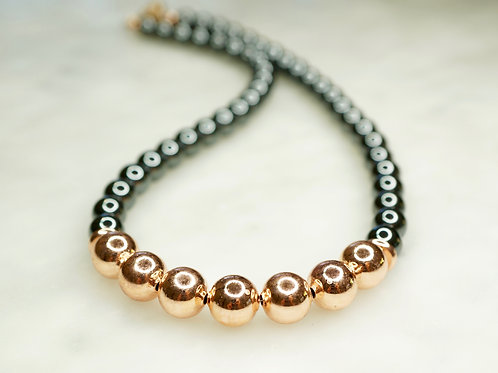 Iron Ore with 14 Carat Rose Gold Vermeil Necklace