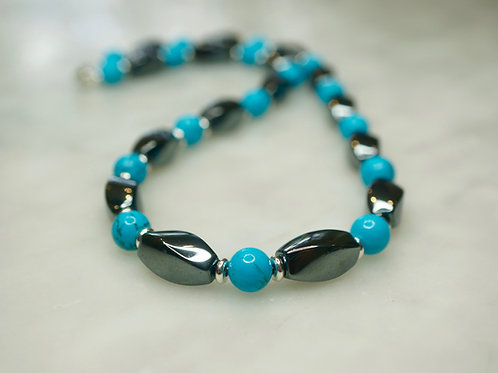 Iron Ore & Reconstituted Turquoise Twist Necklace