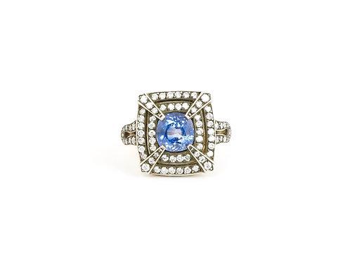18ct Gold Ceylon Sapphire & Diamond Art Deco Style Ring