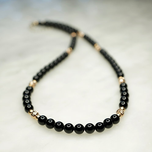 Black Agate & Rose Gold Vermeil Necklace