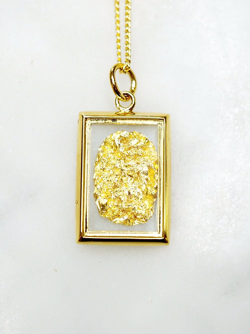 Australian Gold Leaf Rectangle Pendant