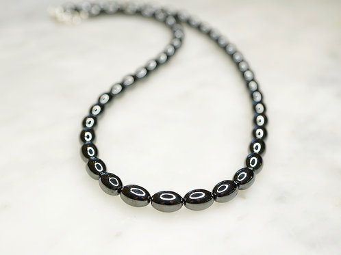 Iron Ore Rice Bead 60cm Necklace