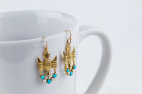 9ct Gold Bird Earrings