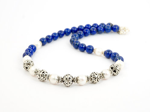 Handmade Lapis Lazuli,Pearl & Sterling Silver Necklace