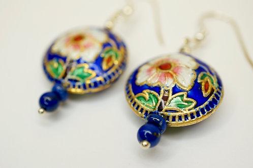 Cloisonne & Lapis Lazuli Earrings