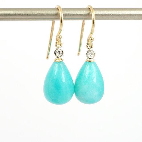 9ct Amazonite & Diamond Earrings