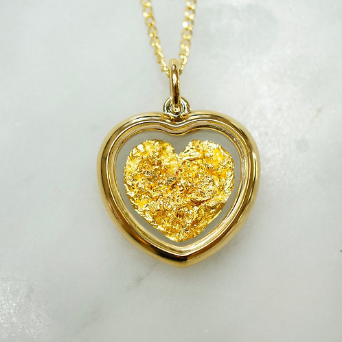 Gold Leaf Small Heart Pendant