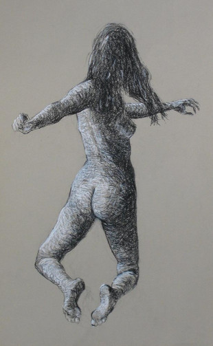 "UNTITLED FIGURE STUDY, CHARCOAL/PASTEL ON PAPER, 11""X18"""