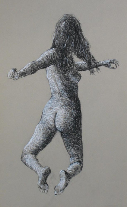 UNTITLED FIGURE STUDY, CHARCOAL/PASTEL ON PAPER, 11X18