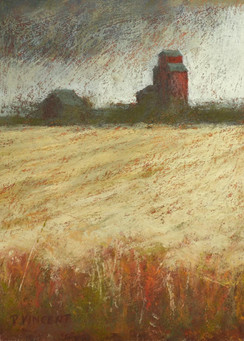 "WHEATFIELD 1, PASTEL ON PAPER, 10""X7"""