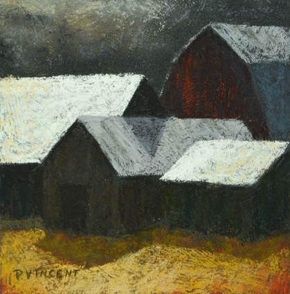 """THE GEOMETRY OF BARNS IV, PASTEL ON BOARD, 7""""X7"""""""