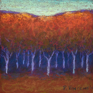 """FALL FOREST, PASTEL ON BOARD. 6""""X6"""""""
