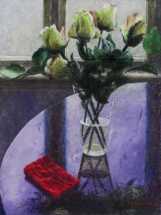 RED NAPKIN, PASTEL/ACRYLIC ON SUBTRATE LAMINATED BOARD, 20X15