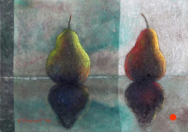 THE SUPERSYMMETRY OF PEARS, PASTEL/ACRYLIC ON SUBTRATE LAMINATED BOARD, 12x17