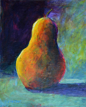 "SOLITARY PEAR, ACRYLIC ON PAPER, 10""X8"""