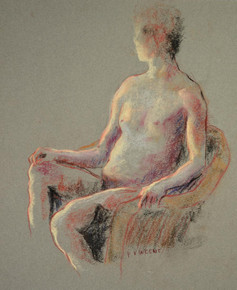 "SEATED FIGURE, PASTEL CHARCOAL ON PAPER, 14""X11"""