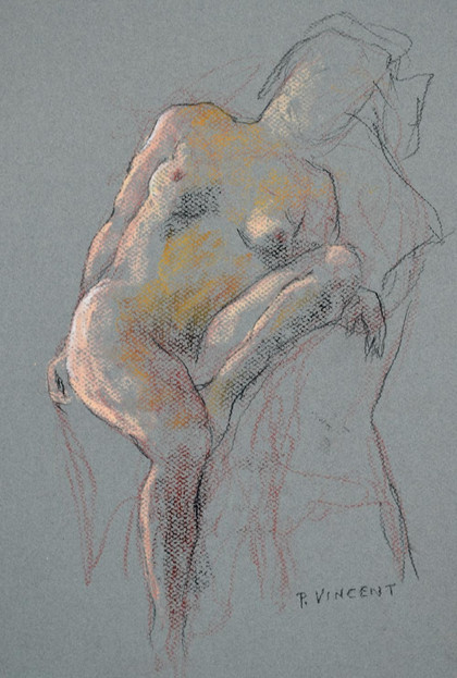 "SITTING FIGURE, PASTEL ON PAPER, 15""X10"""