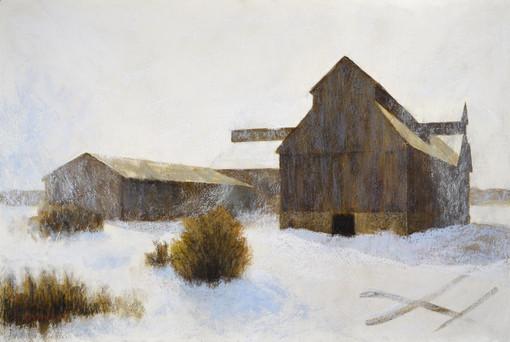SNOW BLOWN - BRADLEY-CRAIG BARN, MIXED MEDIA ON  PAPER, 20X30