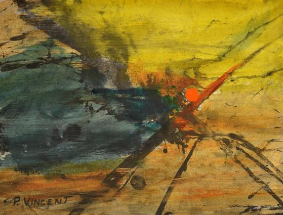 ORIENTAL SUN I, ACRYLIC/CHARCOAL ON PAPER, 11X14