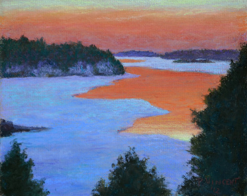 "FULFORD POINT, ST LAWRENCE, PASTEL ON BOARD, 7.5""X9.5"""