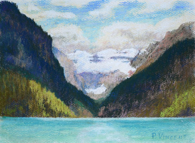 "LAKE LOUISE, PASTEL ON PAPER, 9""X12"""