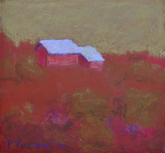 "RED FIELD, PASTEL ON BOARD. 6""X6"""