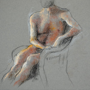 "SEATED FIGURE, PASTEL ON PAPER, 11""X11"""