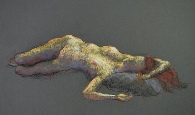 RECLINED FIGURE, PASTEL ON PAPER, 13X 22