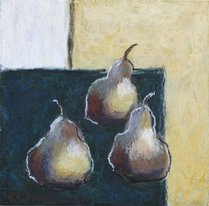 "STUDY - THREE PEARS, PASTEL ON BOARD, 6""X6"""